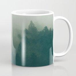 Green Pine Trees Misty Foggy Forest Green Ombre Gradient Minimalist Landscape Coffee Mug