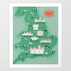 English Estates Map Art Print