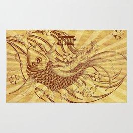 old fashion sun rays vintage japanese tatoo koi fish Rug