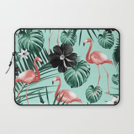 Tropical Flamingo Flower Jungle #3 #tropical #decor #art #society6 Laptop Sleeve