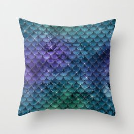 Mermaid Scales Ombre Glitter 4 Throw Pillow
