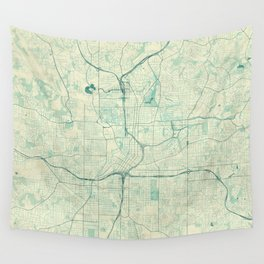 Atlanta Map Blue Vintage Wall Tapestry