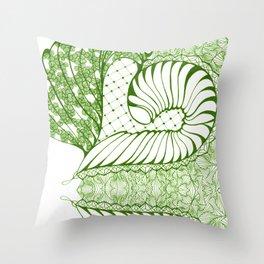 Limette Art Deco Doodle Design Throw Pillow