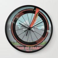 tour de france Wall Clocks featuring Tour De France Bike by Wyatt Design