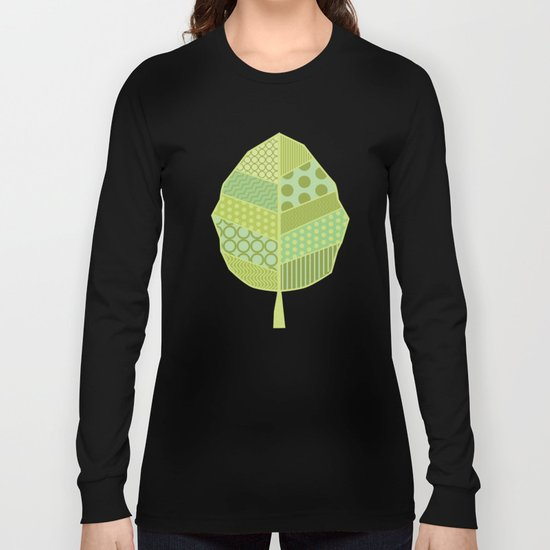 The Unique One (Green Patterned Leaf Patchwork) Long Sleeve T-shirt