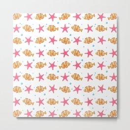 Cute nautical pink orange starfish fish pattern Metal Print