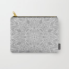 White Mandala on Grey Linen Carry-All Pouch