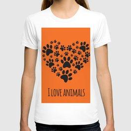 I love animals template T-shirt