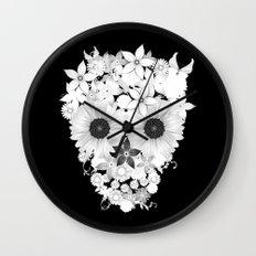 Skull Flowers white Wall Clock