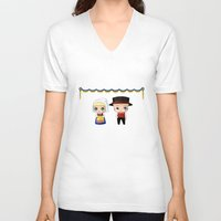 swedish V-neck T-shirts featuring Swedish Chibis by artwaste