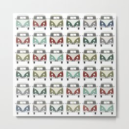 happy camper – A colourful montage pattern of vintage camper vans Metal Print