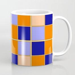 Blues and oranges check Coffee Mug