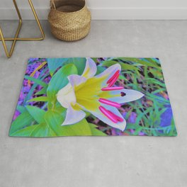 Beautiful White Trumpet Lily with Yellow Center Rug