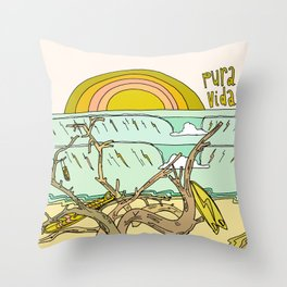 pura vida surf stoke in costa rica Throw Pillow