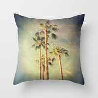 palms Throw Pillows featuring palms by Sylvia Cook Photography
