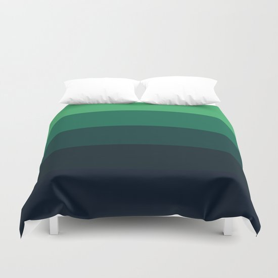 Forest Green Stripes Duvet Cover