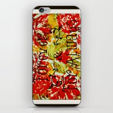 FOREVER & FOR ALWAYS - Beautiful Vintage Acrylic Floral Painting Romantic Love Typography Art iPhone & iPod Skin