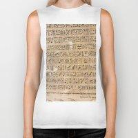 egypt Biker Tanks featuring Egypt Hieroglyphs by Manuela Mishkova