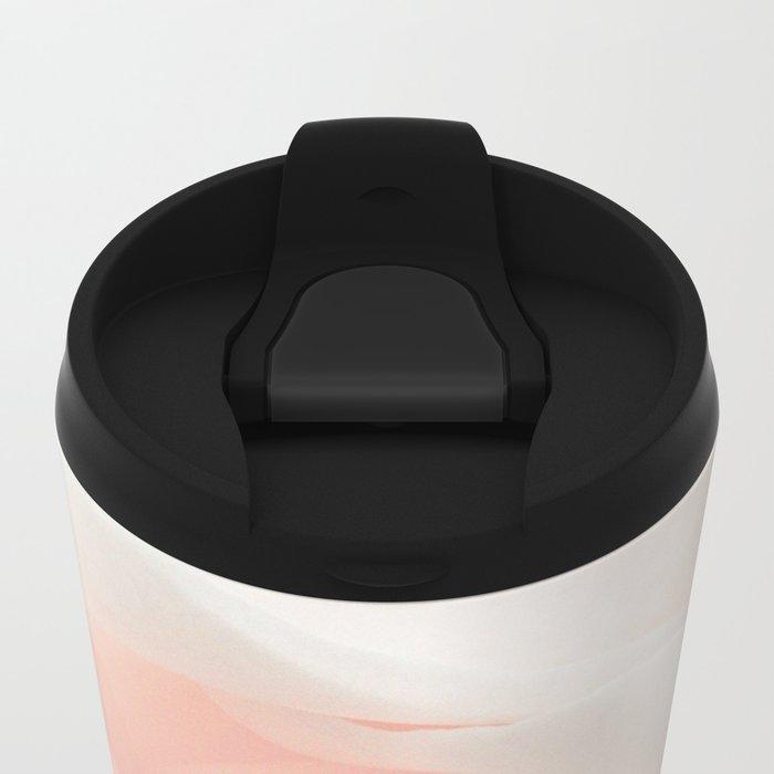 Blush Pink Rose Metal Travel Mug