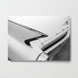 Classic Car Tail Fin, Photo, Black and White Metal Print