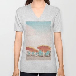 Beach Chairs and Umbrellas Unisex V-Neck