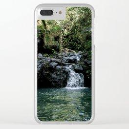 Hawaii Waterfall Clear iPhone Case