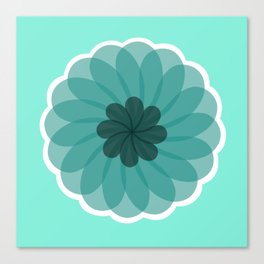 turquoise blue geometrical flower Canvas Print