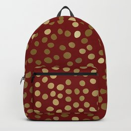 Christmas Snow, Gold and Red Polka Dots Backpack