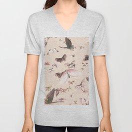 Vintage blush pink black watercolor cute butterfly Unisex V-Neck