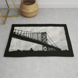 News Feed , Newspaper Bridge Collage Rug