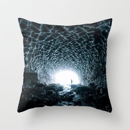 Glacial Ice Cave in the Mountains - Landscape Photography Throw Pillow