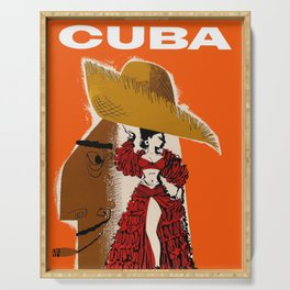 Vintage Travel Ad Cuba Serving Tray