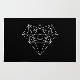 Geometric Black and White lowpoly Polygonal Diamond Shape Design Valentines Day Gift for Girlfriend Rug