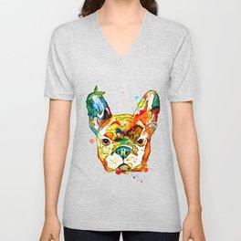 Colorful french bulldog Unisex V-Neck