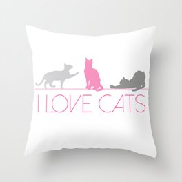I Love Cats (Pink & Grey) Throw Pillow