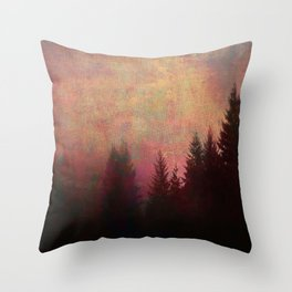 Repose, Abstract Landscape Trees Sky Throw Pillow