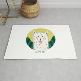 Happy day - white dog in the forest Rug