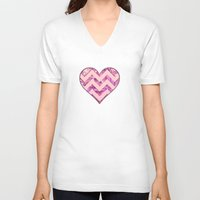 girly V-neck T-shirts featuring Girly Pink by gretzky