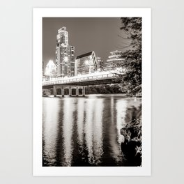 Downtown Austin Skyline Over Lady Bird Lake - Sepia Edition Art Print