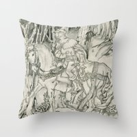 knight Throw Pillows featuring Knight by Caci Dame
