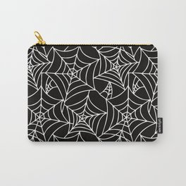 Gothic Halloween - white spider webs on black background Carry-All Pouch