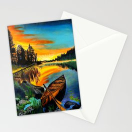 'Water Like Glass' Hand-Drawn Original Canoe Pastels Art - Stationery Cards