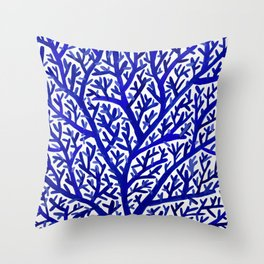 Fan Coral – Navy Throw Pillow