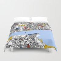 mondrian Duvet Covers featuring Lisbon mondrian by Mondrian Maps