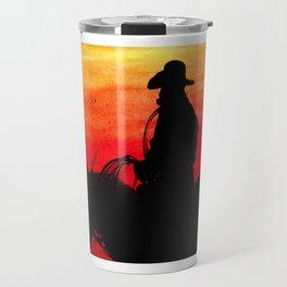 Cowboy on a Red Sunset Travel Mug