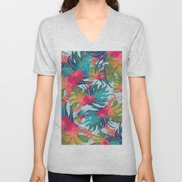 Watercolor Tropical Pattern Unisex V-Neck
