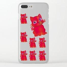 My Red Vanda Cat Pet Pattern Clear iPhone Case