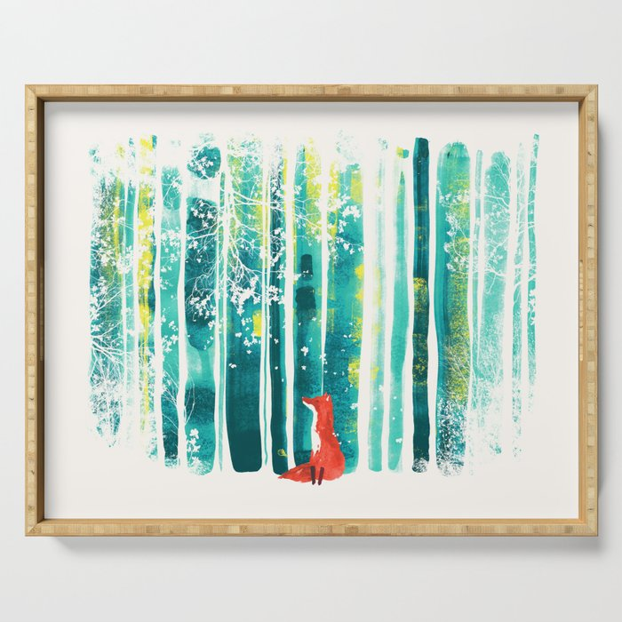 Fox in quiet forest Serving Tray