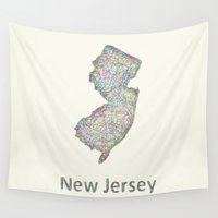 new jersey Wall Tapestries featuring New Jersey map by David Zydd