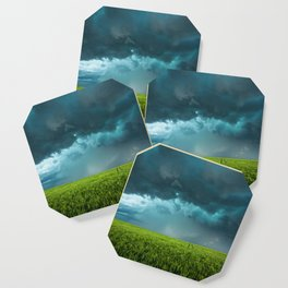 April Showers - Colorful Stormy Sky Over Lush Field in Kansas Coaster